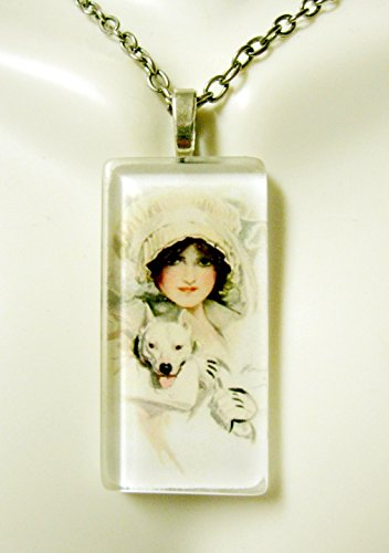 (Beauty with white pit bull glass pendant - DGP02-415 - Harrison Fisher)