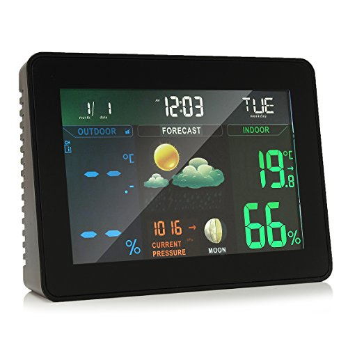 INNI Wireless Colorful Wireless Weather Station Forecast Indoor/Outdoor Thermometer by INNI