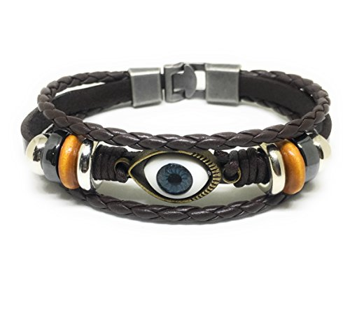 JUICY ACCESSORIES BY JUICY SKIN CARE Evil Eye Charm Bracelet | Leather Bracelet For Men - Charms Leather Juicy