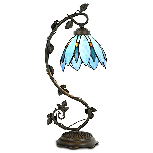 Cloud Mountain Tiffany Style Table Lamp Light Blue Floral Leaf Lotus Shape Arched Stained Glass Desk Lamp Home Decor Lighting with 7 Inch Lampshade by Cloud Mountain