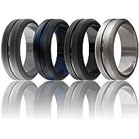 ROQ Silicone Wedding Ring Men, Elegant, Affordable 8mm Silicone Rubber Wedding Bands, 4 Pack, Brushed Top Beveled Edges - Black, Metal Silver, Dark Gray