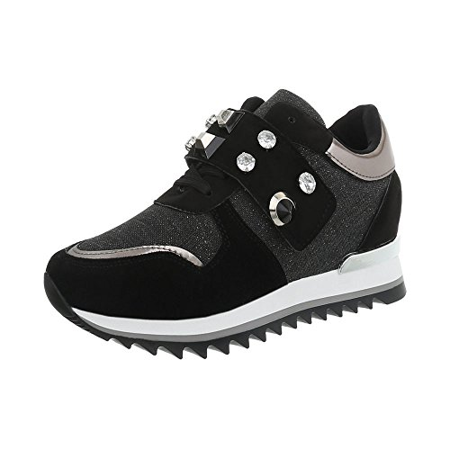 126 Espadrilles Baskets Sneakers High Compensé design Femme Noir Ital G Chaussures Mode gwq4O0Px