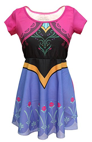 Disney Frozen I Am Anna Costume Womens Skater Dress (XS/S)