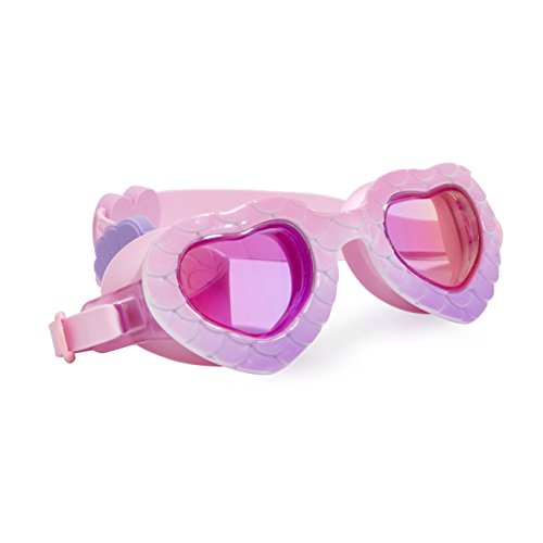 Heart Themed Swimming Goggles for Kids by Bling2O - Anti Fog, No Leak, Non Slip and UV Protection - Shell Pink Purple Colored Fun Water Accessory Includes Hard Case ()