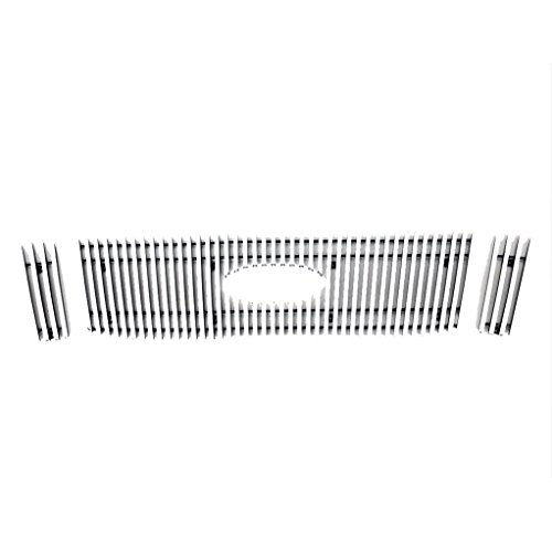 EAG 06-10 Ford Explorer Billet Grille Upper Aluminum Polished Polished Vertical Overlay With Logo (Vertical Overlay Billet Grille)