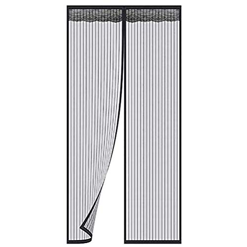 Screen doors black with magnets mesh curtains with Super Tight Self Closing Magnetic Seal, Durable Polyester Mesh Full Frame Mounting Tape, Fits Door Size Up to 180x240cm,Black,85220cm(3387inch)