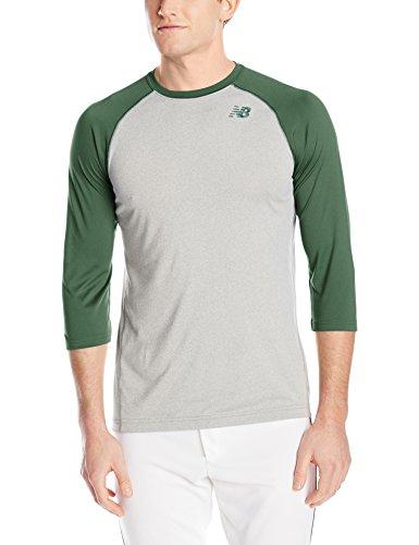 - New Balance Men's 3/4 Baseball Raglan Tee, Team Dark Green, Large