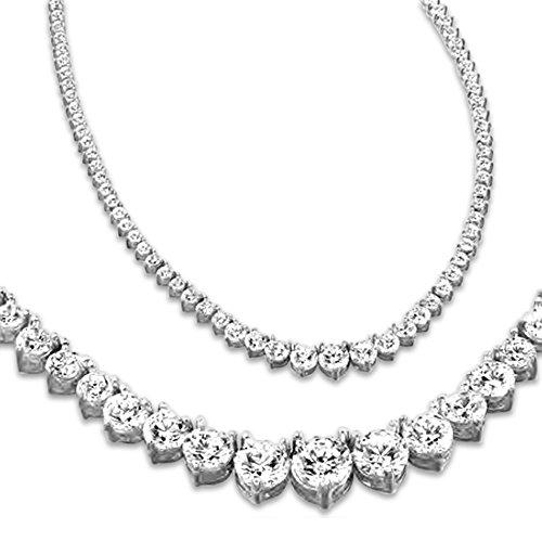 Diamond Necklace Tennis Round - 10 Carat Round 14K White Gold 17