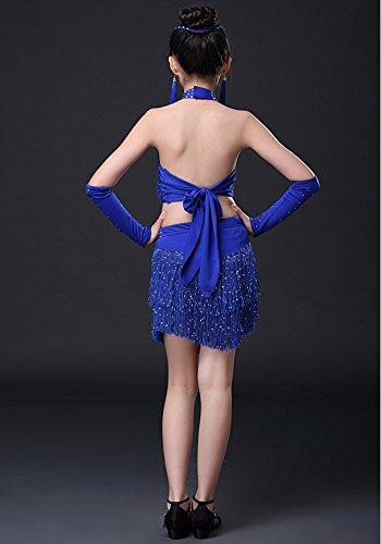 Dancewear Nappa Vestito Senza Ballo Latina sequins Toddler Bozevon Costumi Da Ragazza Blu Outfits Maniche Tx5qwHn4p