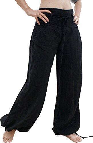 - Raan Pah Muang Cotton Buccaneer Tied Leg and Wide Tie Waist Small Rope Pocket Pants, Medium, Black