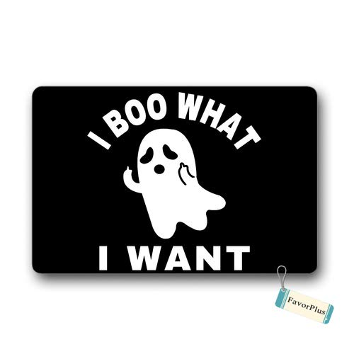 Doormat I Boo What a Want - Cute Funny Ghost Halloween Entrance Outdoor/Indoor Non Slip Decor Funny Floor Door Mat Area Rug for Entrance 18x30 inch