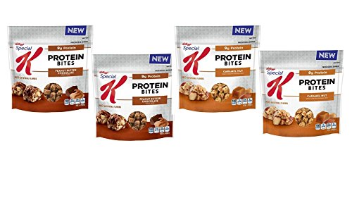 Kellogg's Special K, New for 2017 Protein Bites Variety 4 Pack, 2 Bags of Peanut Butter Chocolate, 2 Bags of Caramel Nut