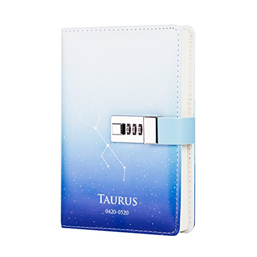 ToiM 12 Constellations PU Leather Journal Writing Notebook Daily Notepad with Combination Lock, B6 Password Diary (Taurus) by ToiM