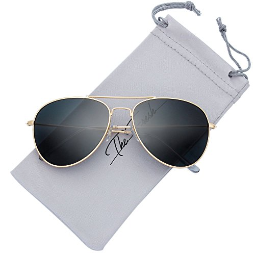 The Fresh Classic Large Metal Frame Polarized Lens Aviator Sunglasses with Gift Box (Gold, - Large Polarized Aviator Metal
