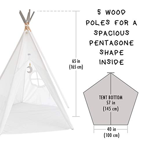 Hippococo Teepee Tent for Kids: Large Sturdy Quality 5 Poles Play House Foldable Indoor Outdoor Tipi Tents, True White Canvas, Floor Mat, Grey Moon Accessory, Family Fun Crafts eBook Included (Grey) by Hippococo (Image #4)