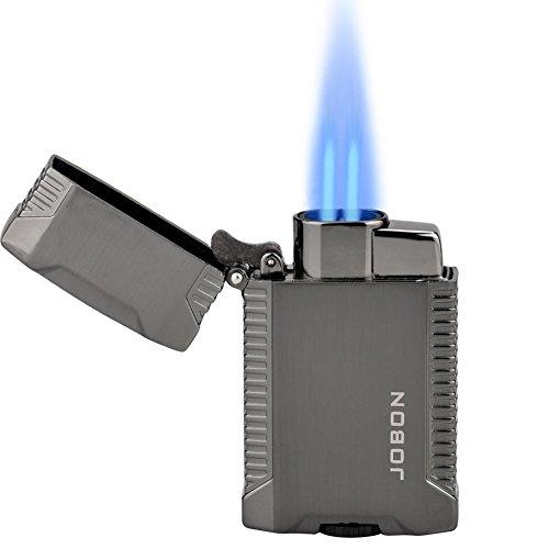 TOPKAY Torch Lighter, Butane Lighter, Windproof Double Jet Flame Torch Lighter, Refillable Gas Lighter, Cool Pocket Lighter