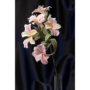 Unusual Beautiful Handmade Polymer Clay Flowers For Home Decor Pink Alstroemeria 15