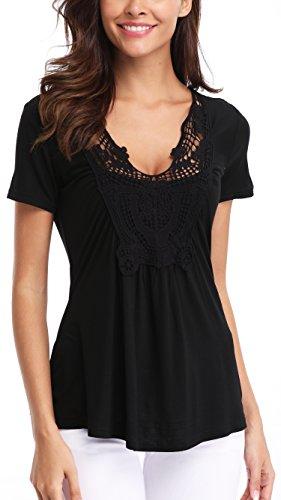 Short Inside Line Sleeve T-shirt (MISS MOLY Women's Peplum Tops Summer Short Sleeves Shirts Cute Lace Up Vneck Blouse Black L)