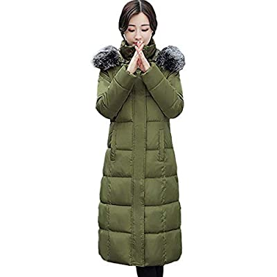 NUWFOR Parka Jacket Women Faux Fur Hooded Cotton Padded Long Sleeve Outerwear Coats for Winter White
