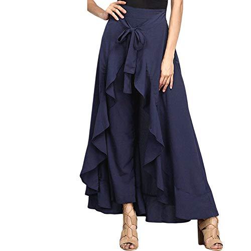 Ample Fashion Taille Femme Volants Blue de Femmes pour Jupes Marine Cravate Mousseline Pantalon en Jupes Les Wrap Soie Casual Large Jambe la Bleu CZwxSZ1q0r