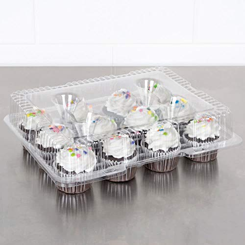 Oasis Supply 24 12-Compartment Cupcake & Muffin Container with Hinged Lid, Clear