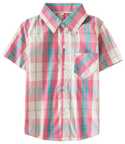 Toddlers Boys Little Kids Short Sleeves Button Down Plaid Shirt Tops, Red Black, Tag 140 for Age 7-8 Years
