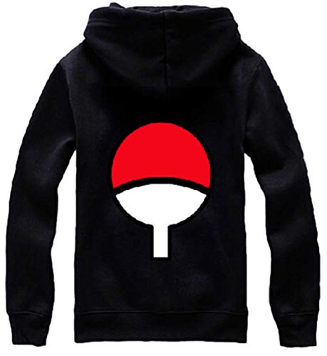 GK-O Naruto Uchiha Sasuke Hoodie Jacket Pullover Coat Sweatshirt Unisex (Asian Size Large) Black (Sasuke Hoodie Jacket)