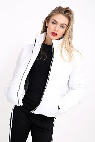 FLIRTY WARDROBE Womens Wet Look Cropped Jackets Coat Ladies Padded Bomber Bubble Puffer Short (Cropped Bomber)