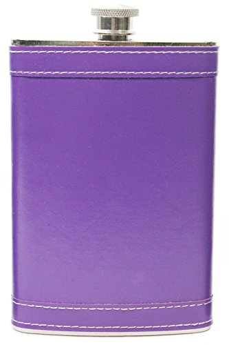 8oz Stainless Steel Primo 18/8#304 Purple Premium/Heavy Duty Hip Flask Gift Set - Includes Funnel and Gift Box