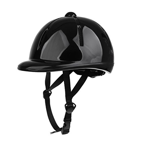 Black Shiny Helmet - Fityle Lightweight Adjustable Kids Toddlers Horse Riding Helmet Equestrian Sports Protective Helmet - Various Color to Choose - Black Shiny