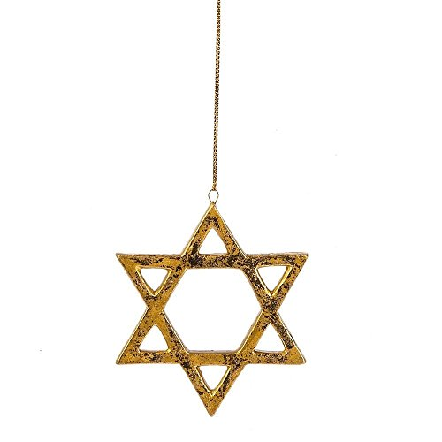 (Star of David Gold-colored Hanging Christmas Ornament)