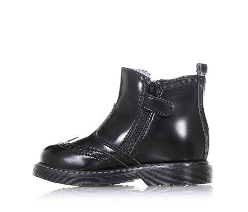 NERO GIARDINI - Bottine noire en cuir brillant, avec fermeture éclair latérale, pièce élastique latérale, réalisation à l'anglaise perforée, coutures visibles, garçon, garçons