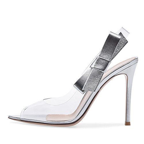 Stilettos Dress Women's PVC for amp; Shoes Sandals Sexy Satin Party High Color Ladies Evening Heel Size Tie Fashion Transparent 35 C Heel Casual qf4qzn