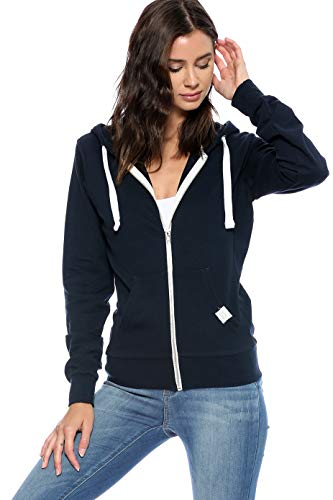 Urban Look Womens Basic Lightweight Stretch French Terry Zip up Hoodie (Medium, A Navy)