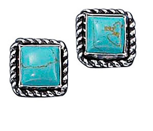 Sterling Silver Square Roped Edge Simulated Turquoise Post Stud Earring