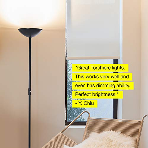 Brightech SkyLite - Bright LED Torchiere Floor Lamp for Offices – Modern, Dimmable Reading Light for Living Rooms & Bedrooms - Tall Standing Pole Light - Jet Black by Brightech (Image #9)