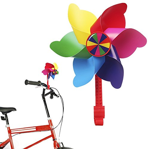 Bike Handlebar Pinwheel for Kids, Mini-Factory Bike Accessory Decoration Wind Spinner for Kid's Bicycle (Rainbow Stripes)