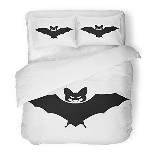 Emvency Bedding Duvet Cover Set Twin (1 Duvet Cover + 1 Pillowcase) Afraid Bat Halloween Flying White Scary Eyes Vampire Silhouette Animal Bird Cartoon Hotel Quality Wrinkle and Stain -