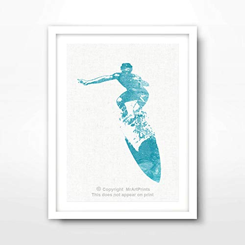 SURFER SILHOUETTE SURFING SURF SURFBOARDS ART PRINT Poster Home Decor Wall Picture Photo A4 A3 A2 (10 Size Options)