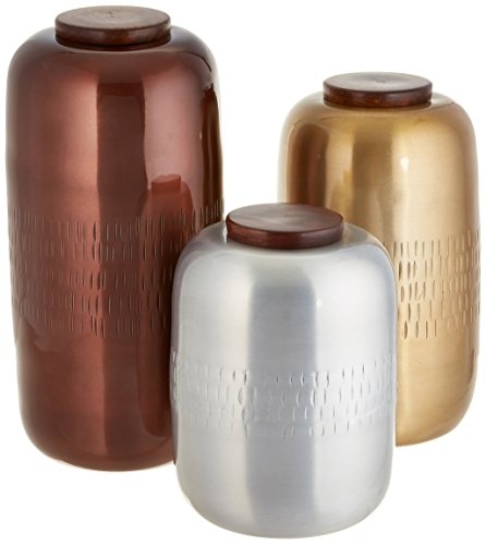 IMAX 86163-3 Aluminum Lidded Vessels - Set of Three, ()