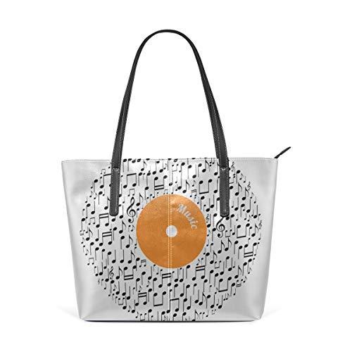 (Laptop Tote Bag Color Music Posters Card Large Printed Shoulder Bags Handbag Pu Leather Top Handle Satchel Purse Lightweight Work Tote Bag For Women Girls)