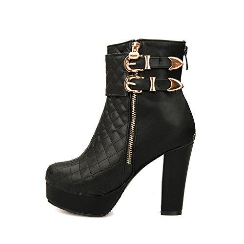 A&N Womens Chunky Heels Buckle Back Zipper Soft Material Boots Black TSmvunQa