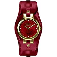 Versus by Versace Women's 'Berlin' Quartz Gold-Tone and Leather Fashion Watch, Color:red (Model: VSPGR2418)