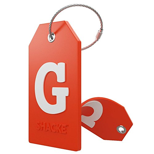 (Initial Luggage Tag with Full Privacy Cover and Stainless Steel Loop - (Letter G))