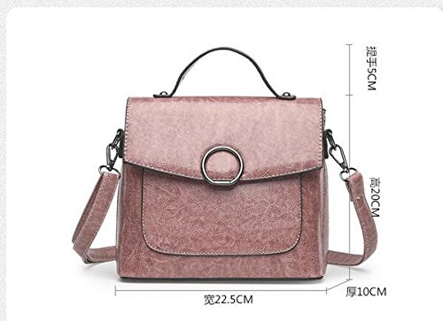 Aceite Pink Pequeño Bolsa Paquete De Meaeo La De Moda Hombro De Hombro Nueva Retro Negro Corea De Cera wFqTwZ81