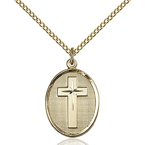 Gold Filled Cross Pendant 3/4 x 1/2 inches with Gold Filled Lite Curb Chain by Bonyak Jewelry Saint Medal Collection