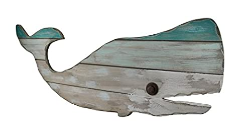 Blue and White Wooden Whale Wall Plaque 31 in.