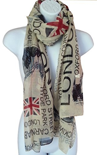Tiny Susie Union Jack Scarf London Souvenir Gift Soft and Oversize Fashion Scarf (Beige1) (Flag Union)