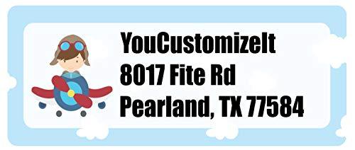 Airplane & Pilot Return Address Label (Personalized)