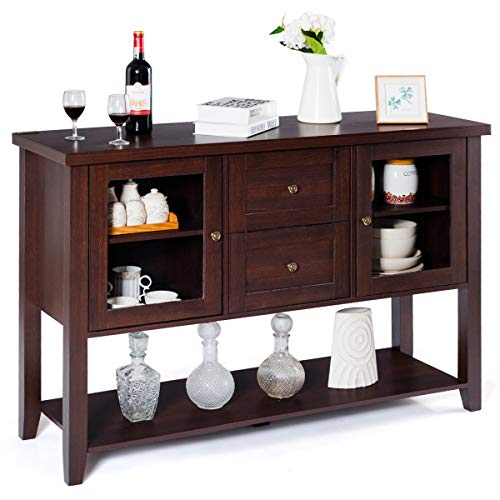 Dining Room Wide Cabinet - Giantex Buffet Cabinet Sideboard with Two Drawers and Glass Doors Console Table with Bottom Shelf Large Storage Space Dining Room Home Furniture Side Cabinet (Brown)